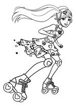 Раскраска - Барби - Барби на роликовых коньках