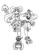 Раскраска - Барби - Барби с подружкой на роликах