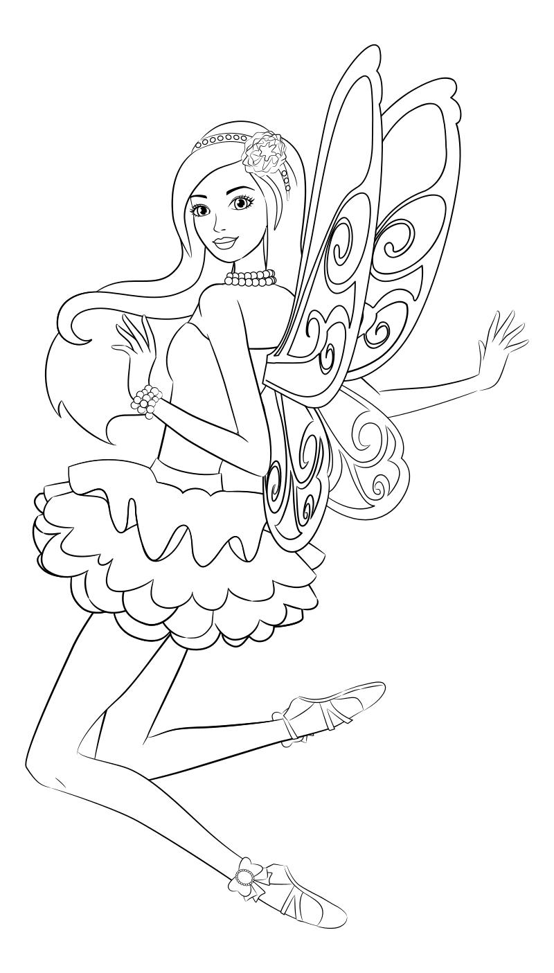 Раскраска - Барби - Барби с крылышками