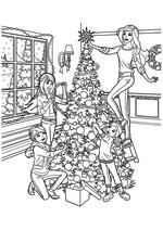 Раскраска - Барби - Барби с сёстрами наряжают ёлку