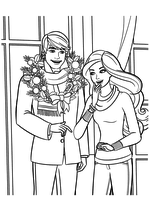 Раскраска - Барби - Кен и Барби