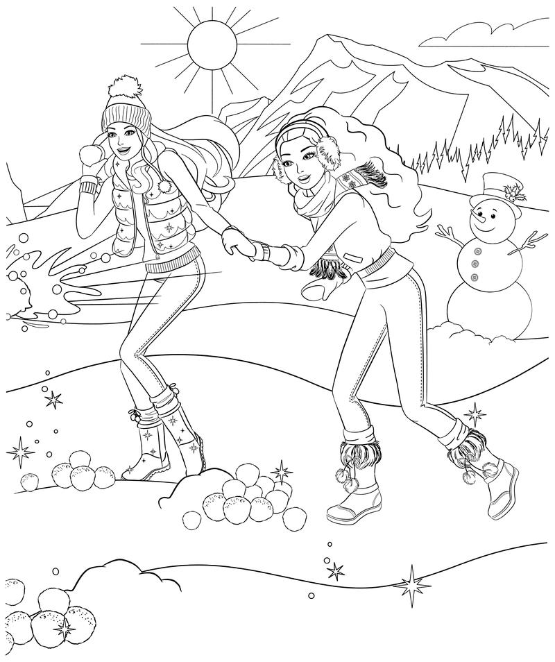 Раскраска - Барби - Барби с подругой играют в снежки