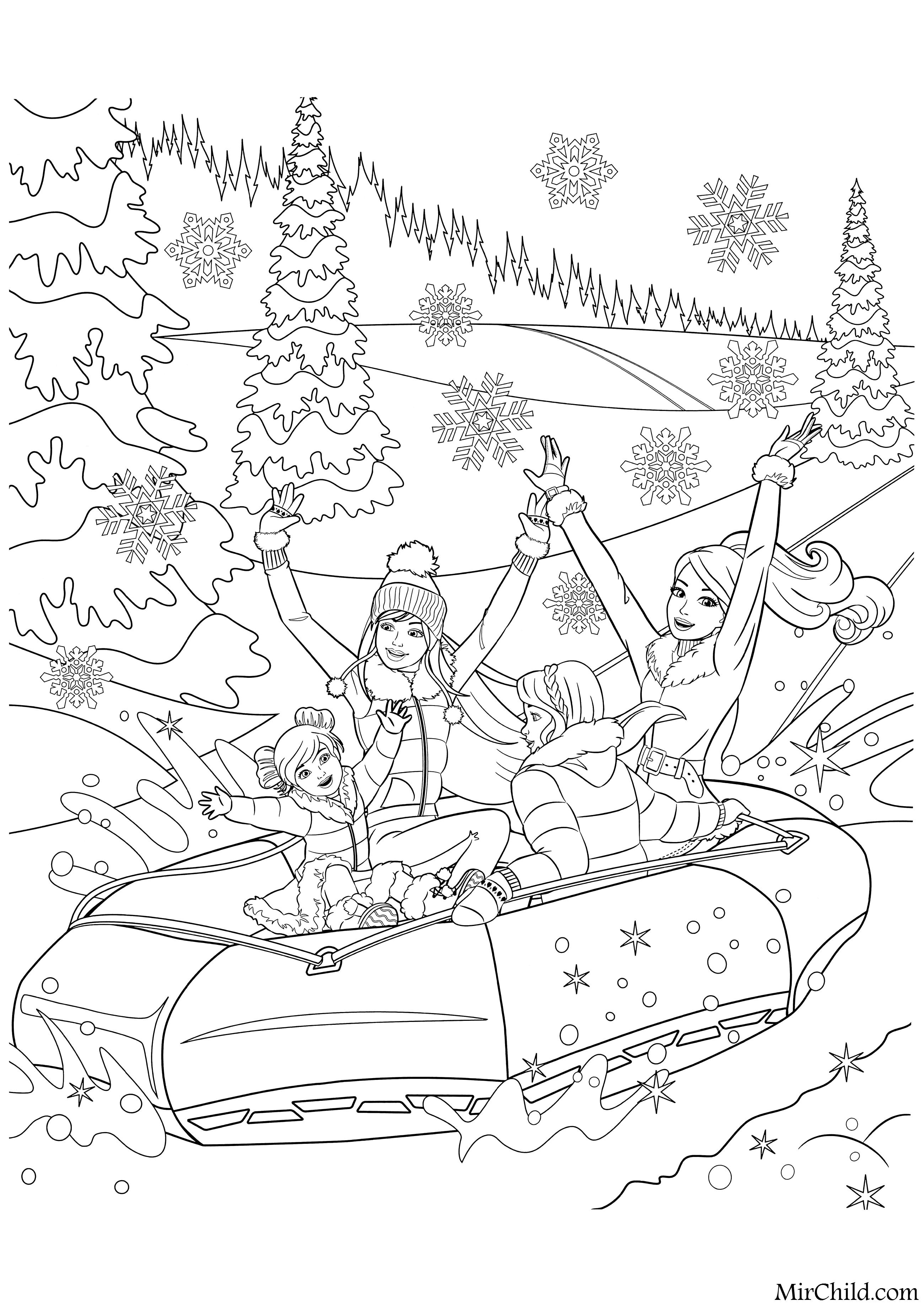Раскраска - Барби - Барби с подругами катятся с горки на ...