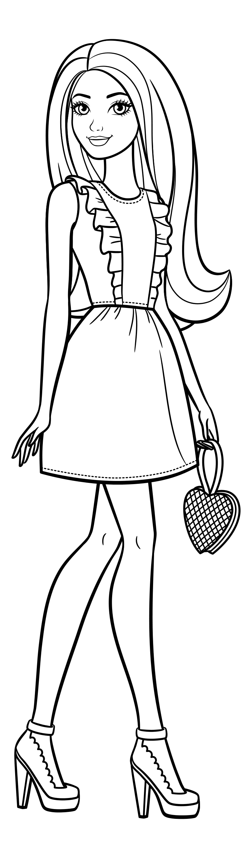Раскраска - Барби - Барби в красивом платье с сумочкой ...