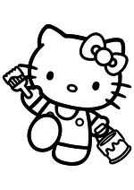 Раскраска - Хелло Китти - Китти с кистью и краской