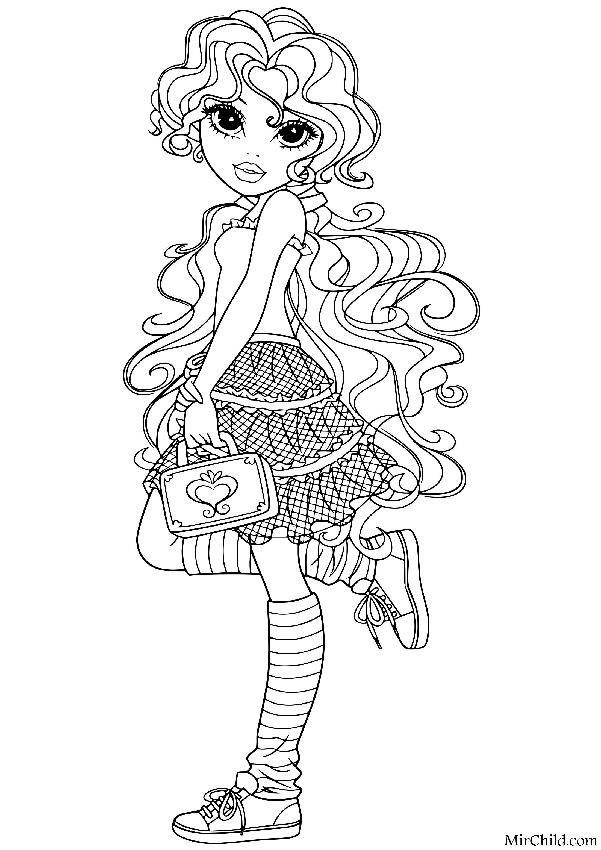 Раскраска - Куклы Мокси - Бриа с сумочкой | MirChild