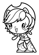 Раскраска - Мой маленький пони - Cutie Mark Crew - Милая Девушка Эквестрии Эпплджек