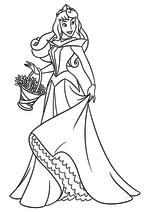 Раскраска - Принцессы Диснея - Аврора с корзиной цветов
