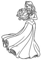 Раскраска - Принцессы Диснея - Аврора с розой