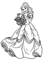 Раскраска - Принцессы Диснея - Белль с корзиной цветов