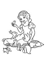 Раскраска - Принцессы Диснея - Белоснежка в компании лесных зверят