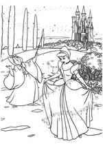 Раскраска - Принцессы Диснея - Фея превращает лохмотья Золушки в платье