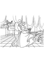 Раскраска - Принцессы Диснея - Принц танцует с Золушкой на балу