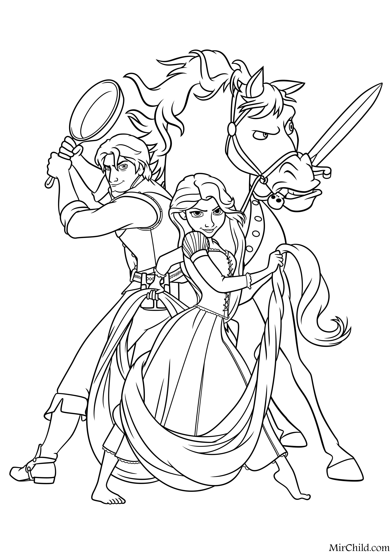 Раскраска - Принцессы Диснея - Флин Райдер, конь Максимус ...