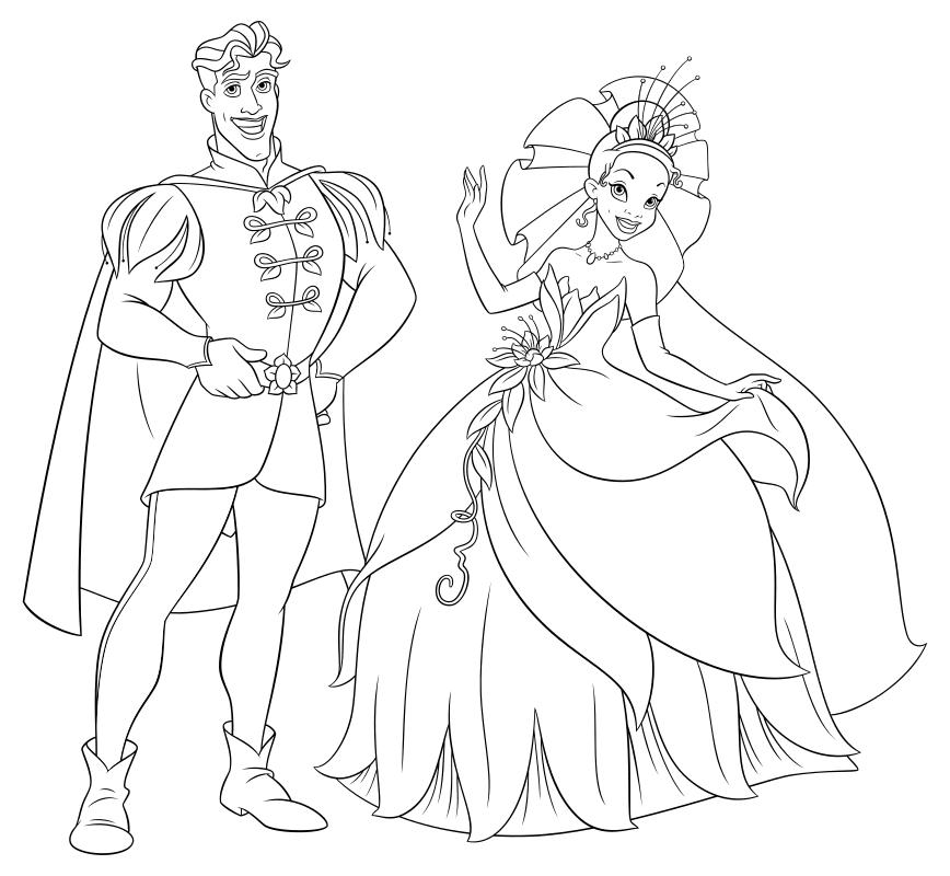 Раскраска - Принцессы Диснея - Принц Навин и Тиана | MirChild