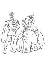 Раскраска - Принцессы Диснея - Принц Навин и Тиана