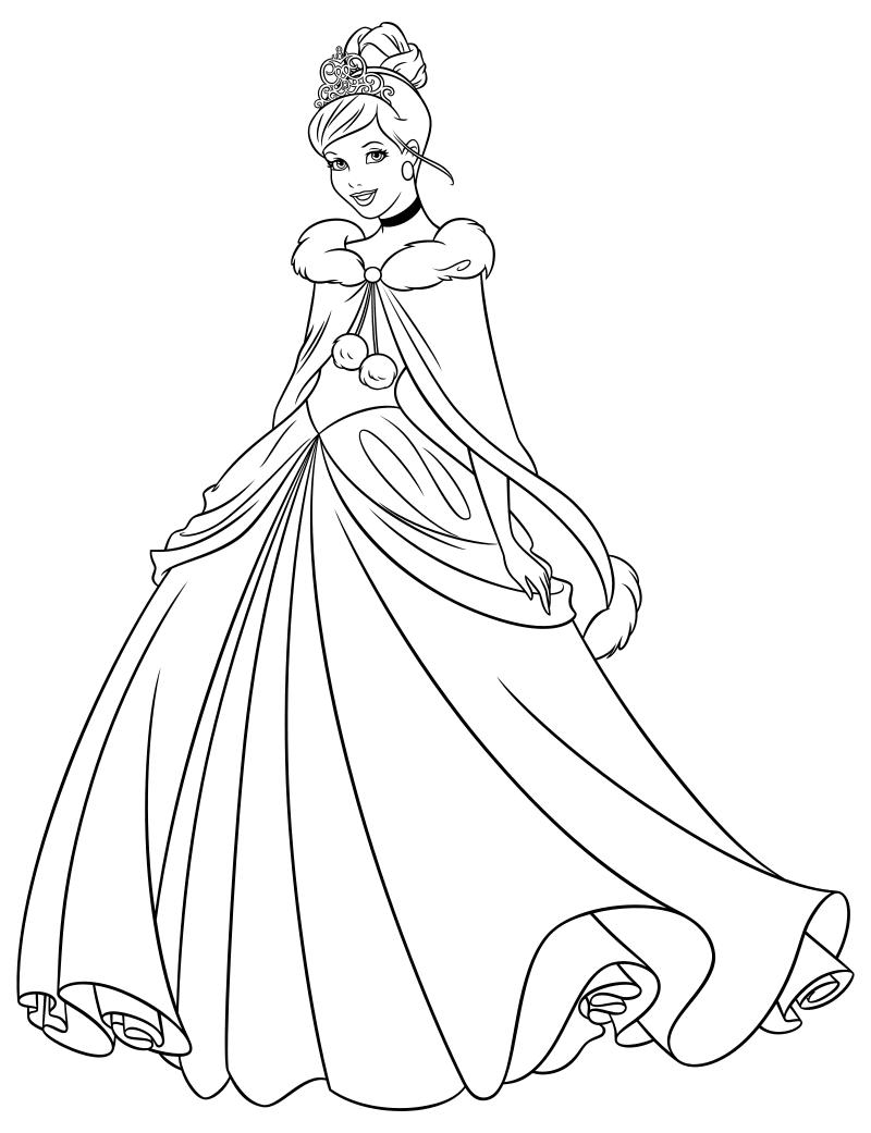72Раскраска принцессы золушка распечатать