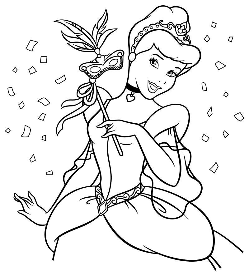 Раскраска - Принцессы Диснея - Золушка на бал-маскараде ...