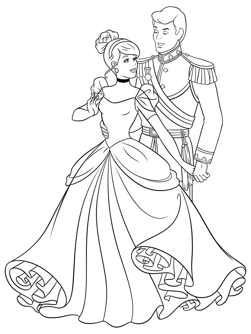 Раскраска - Принцессы Диснея - Золушка танцует с принцем ...