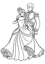 Раскраска - Принцессы Диснея - Золушка танцует с принцем