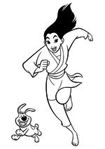 Раскраска - Принцессы Диснея - Мулан бежит с маленьким братом