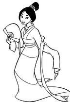 Раскраска - Принцессы Диснея - Мулан с веером
