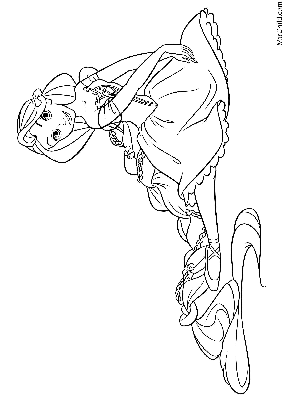 Раскраска - Принцессы Диснея - Рапунцель балерина | MirChild