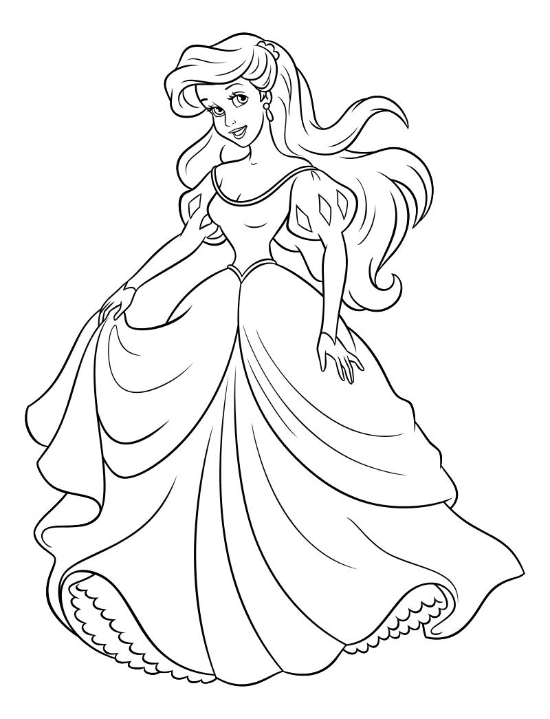 Раскраска - Принцессы Диснея - Ариэль в бальном платье ...