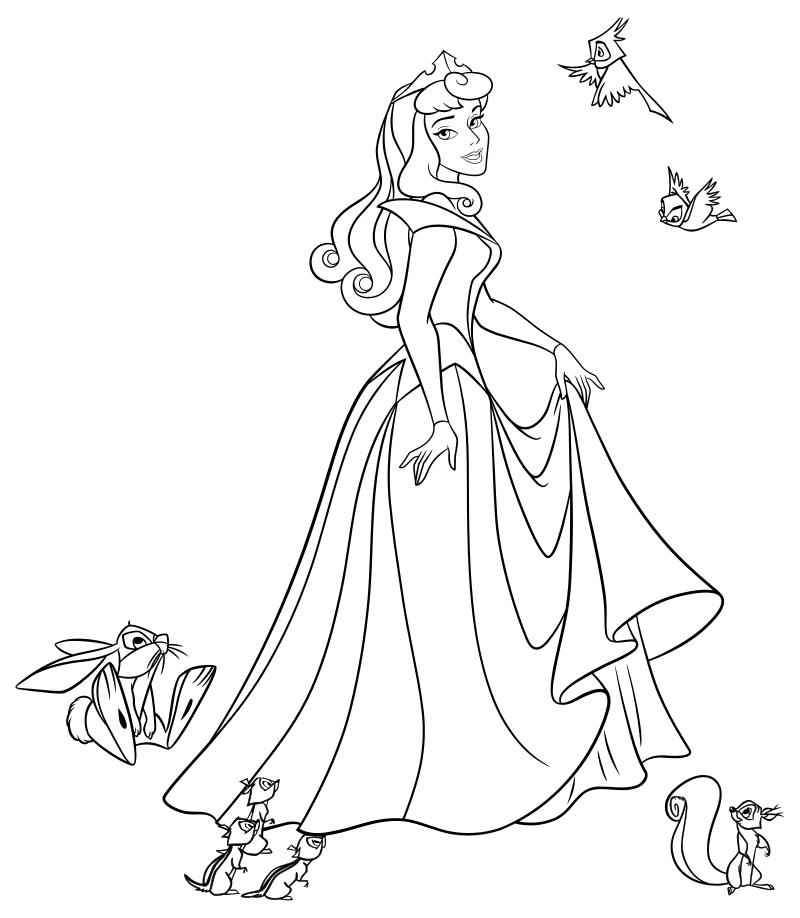 Раскраска - Принцессы Диснея - Аврора и зверята | MirChild
