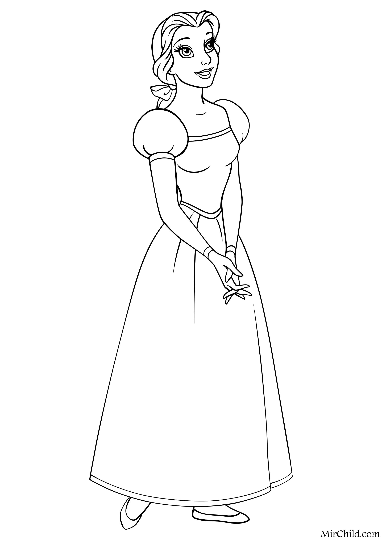 Раскраска - Принцессы Диснея - Белль | MirChild