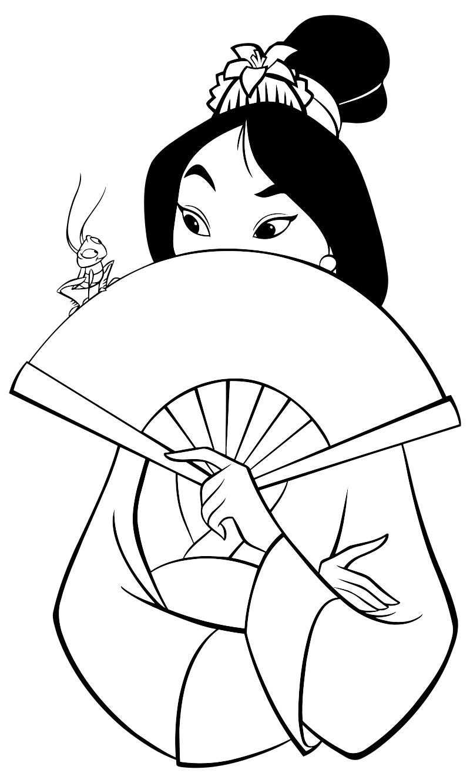 Раскраска - Принцессы Диснея - Мулан с веером и сверчок ...