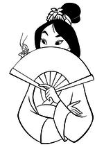 Раскраска - Принцессы Диснея - Мулан с веером и сверчок Кри-Ки