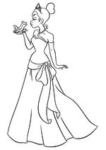 Раскраска - Принцессы Диснея - Тиана целует Навина