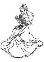 Раскраска - Принцессы Диснея - Белль на День святого Валентина