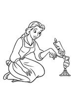 Раскраска - Принцессы Диснея - Белль встречает Люмьера