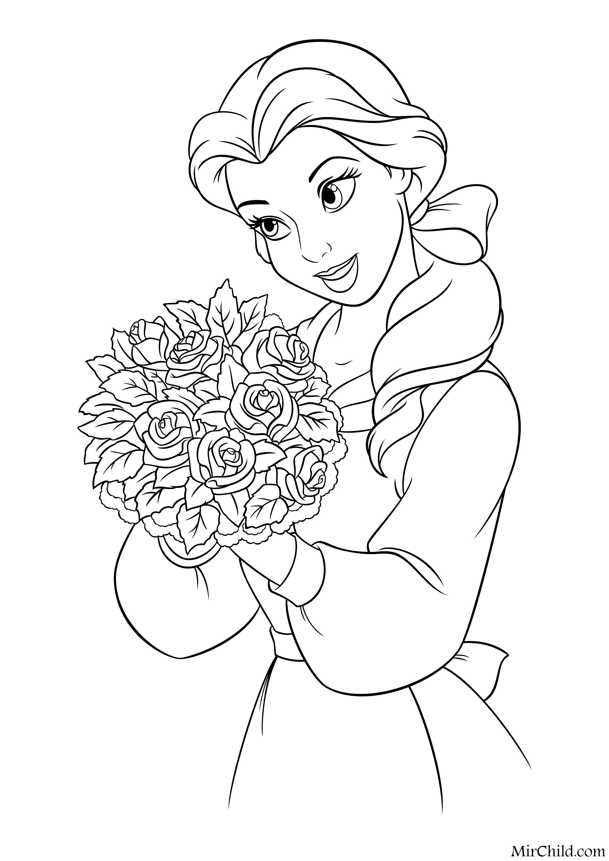 Раскраска - Принцессы Диснея - Белль с букетом роз | MirChild