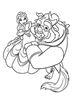 Раскраска - Принцессы Диснея - Танец Красавицы и Чудовища