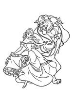 Раскраска - Принцессы Диснея - Красавица и Чудовище готовы к танцу