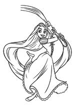 Раскраска - Принцессы Диснея - Рапунцель спускается на волосах