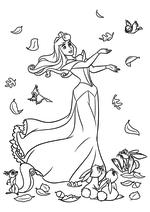 Раскраска - Принцессы Диснея - Осень принцессы Авроры