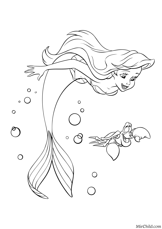 Раскраска - Принцессы Диснея - Русалочка Ариэль и краб ...