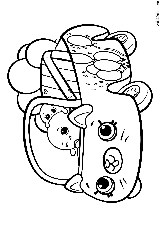 Раскраска - Шопкинс - Милашка машинка воздушные шарики ...