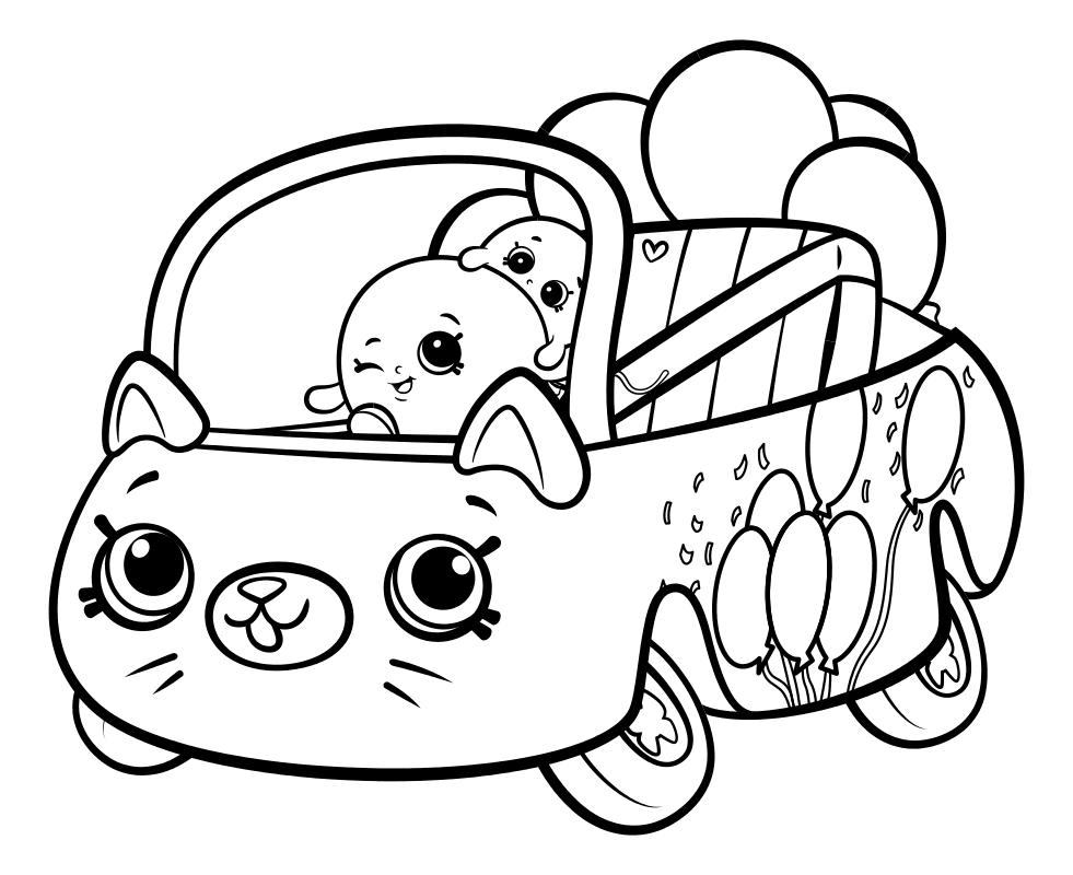 Раскраска - Шопкинс - Милашка машинка воздушные шарики