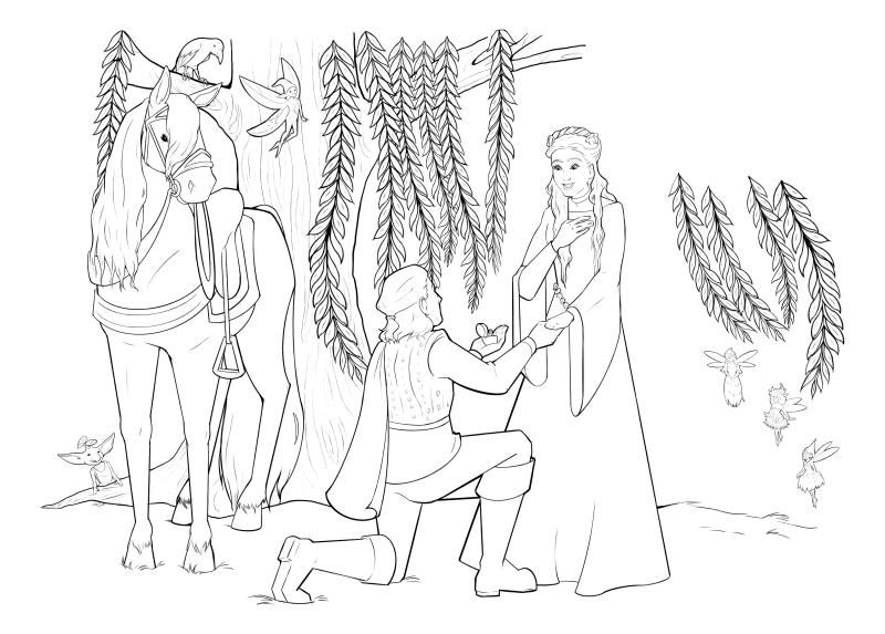 Раскраска - Малефисента: Владычица тьмы - Принц Филипп делает предложение Авроре