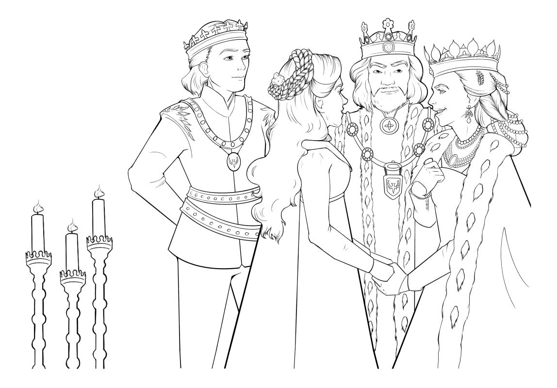 Раскраска - Малефисента: Владычица тьмы - Аврора встречает короля Джона и королеву Ингрит