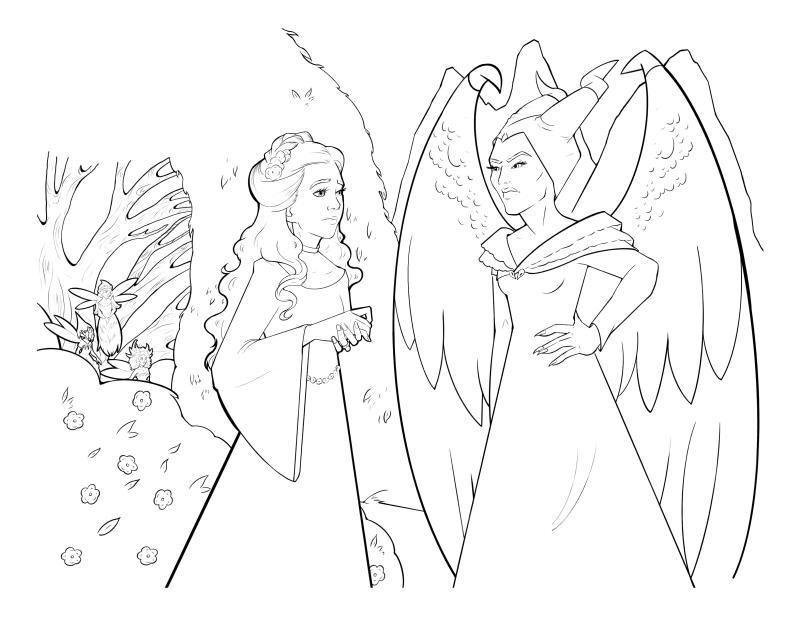Раскраска - Малефисента: Владычица тьмы - Малефисента не довольна помолвкой Авроры