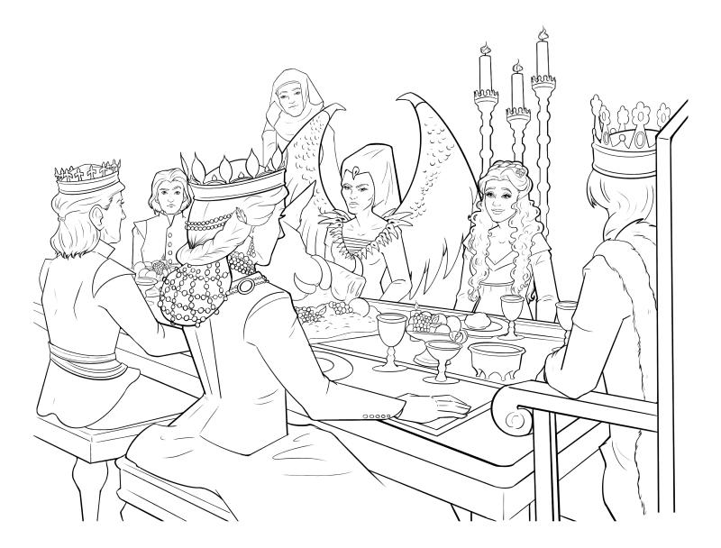 Раскраска - Малефисента: Владычица тьмы - Малефисента и королева Ингрит не смотрят друг на друга