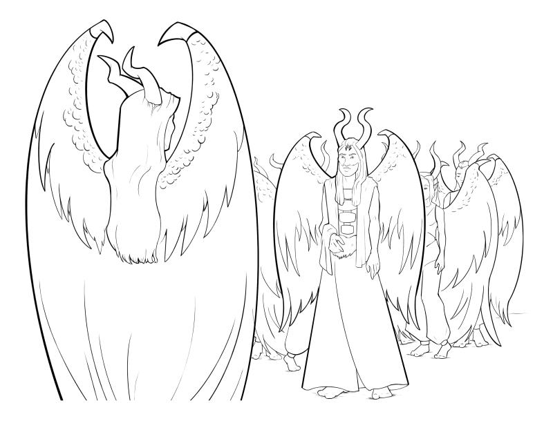 Раскраска - Малефисента: Владычица тьмы - Малефисента встречает Коналла и других эльфов