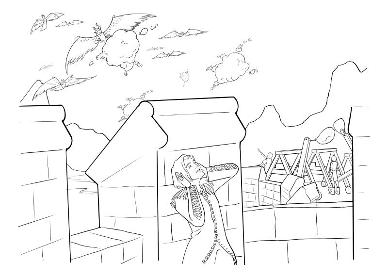 Раскраска - Малефисента: Владычица тьмы - Диаваль прячется от битвы
