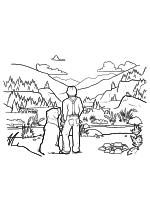 Раскраска - Зов предков - Бэк и Джон Торнтон в открытой долине